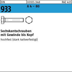 1 Sechskantschrauben DIN 933 A 4-80 M 14 x 80 A 4-80 VE=S
