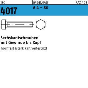 1 Sechskantschrauben ISO 4017 A 4-80 M 14 x 80 A 4-80 VE=S