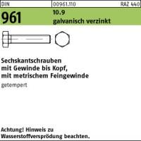 100 Feingewinde Sechskantschrauben DIN 961 10.9 verzinkt M12x1,5x45