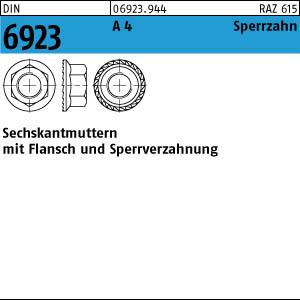 Sechskantmuttern mit Flansch V2A 25 Flanschmuttern DIN 6923 Edelstahl A2 M6