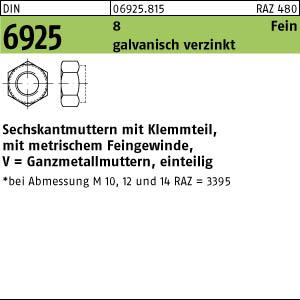 10 Stück Mutter DIN M8 DIN 985 Klasse 10 10.9 verzinkt selbstsichernd