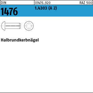 1.4303 Halbrundkerbn/ägel DIN 1476 Edelstahl A2 4 x 8-100 St/ück
