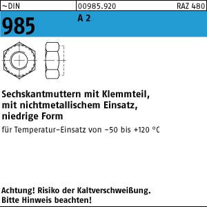 DIN 985 Sechskantmuttern selbstsichernd niedrige Form Edelstahl A2 A4 diverse