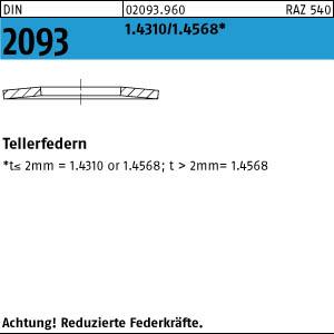 Tellerfedern allgemeiner Gebrauch DIN 2093 Federstahl 23X8,2X1,0mm 50Stk