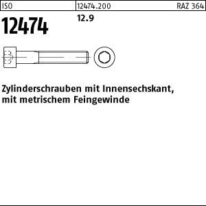 200 Inbus Feingewinde Zylinderschrauben ISO 12474 12.9 M8x1x30