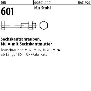 10 St/ück mit Sechskantmutter DIN 601 Mu Stahl Sechskantschrauben Abmessung: M16x460